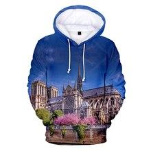2019 new latest Sunshine casual 3D hooded sweatshirt Notre Dame de Paris men and women shirt printed mens