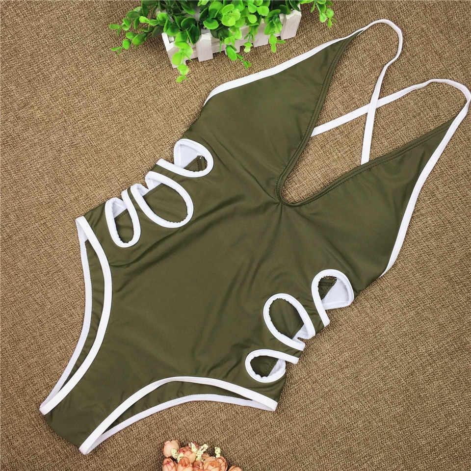 ZPDWT сексуальный купальник женский армейский зеленый Цельный купальник 2018 новый купальный костюм монокини с вырезом белье трикини Maillot De Bain