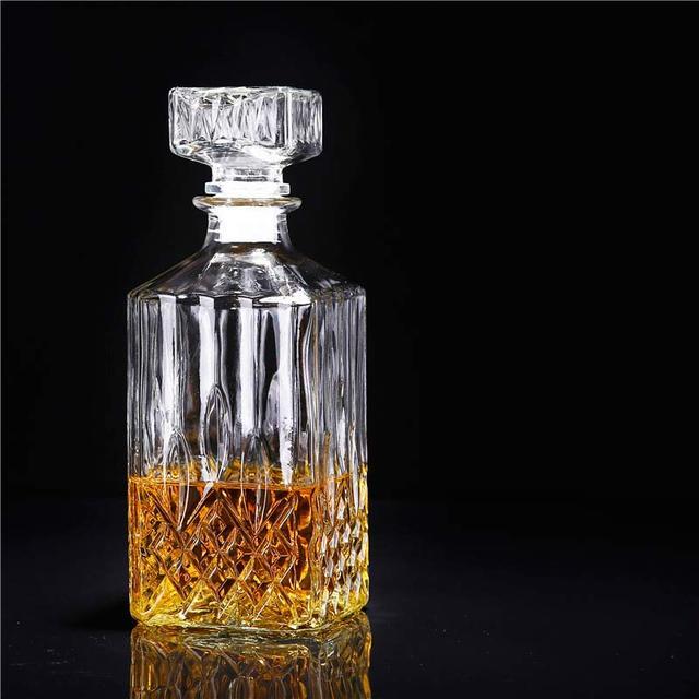900 Ml Vintage Carafe Verre Liqueur Whisky Cristal Bouteille Vin Bouchon  Scotch