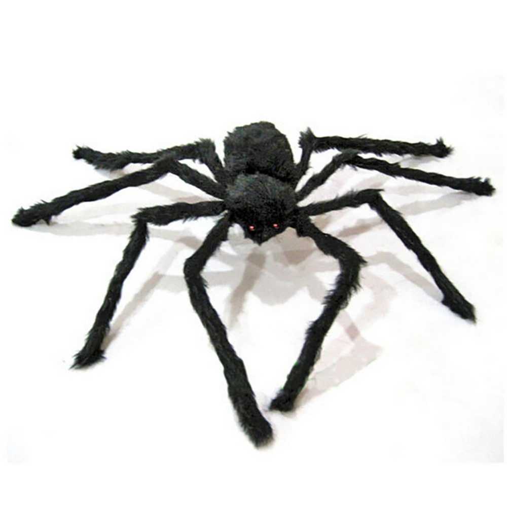 new funny gadget novelty horror black furry spider halloween supplies props prank bar moving ornament april - Halloween Supplies