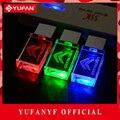 YUFANYF 2017 pendrive 3 colors Red / blue / green LED CITROEN car LOGO USB falsh drive 4GB 8GB 16GB 32GB U Disk crystal gift