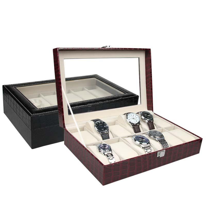 12 Slots Montre affichage de Bijoux D'affichage de Montre Boîte De Rangement Noir Montre Titulaire Cas