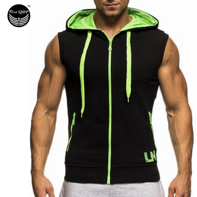Parte superior do tanque dos homens 2017 marca estilingue masculino zipper decoração sem mangas colete tanque musculação top mens clothing 2xl jérsei fywn