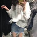 Rugod Newest Casual White Lace Women Blouse Solid Elegant Ladies Blusa Long Sleeve women blouses Cotton Loose polo shirt women