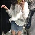 Rugod mais novo casual mulheres blusa de renda senhoras elegantes sólidos blusa branca de manga longa mulheres blusas de algodão solto camisa polo mulheres