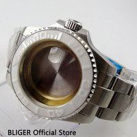 Solid BLIGER 43MM Sapphire Crystal Ceramic Bezel Stainless Steel Watch Case Fit For ETA 2836 Mingzhu 2813 Movement C81