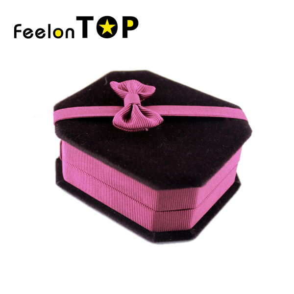 Black Hotpink Color With Bowknot Fabric Jewelry Box For Charming