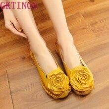 جديد Vintage اليدوية الشعبية نمط المرأة الشقق حذاء كاجوال جلد طبيعي سيدة أحذية لينة للأم أحذية بدون كعب أنيقة