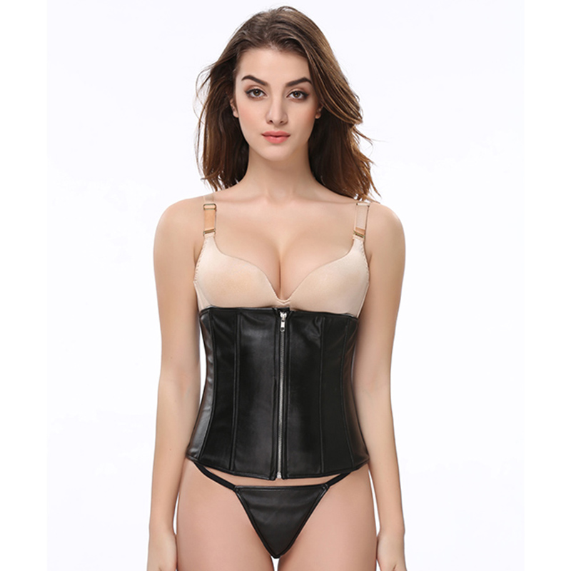 Black Faux Leather Front Zip Gothic Womens Underbust Corset Slimming Waist Boyd Shapper Hot Body Feminino Corselet Plus Size