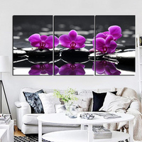 YWDECOR HD Prints 3 Panel Butterfly Orchid Flowers On Black Stones Still Life On Canvas Wall