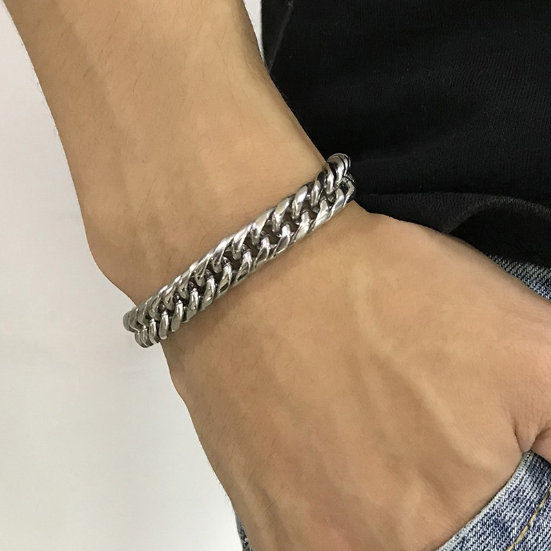 Basic Mens Link Chain Bracelets for Men Male Stainless Steel pulseira masculina Gifts for Him