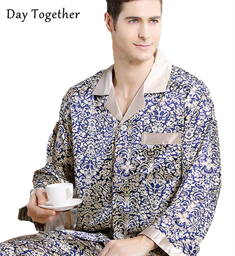 Plus Size Men Luxury Satin Pajamas Long Sleeved Silk Pijama Sleepwear For Men Pyjamas Set Printed Nightwear Man(China)