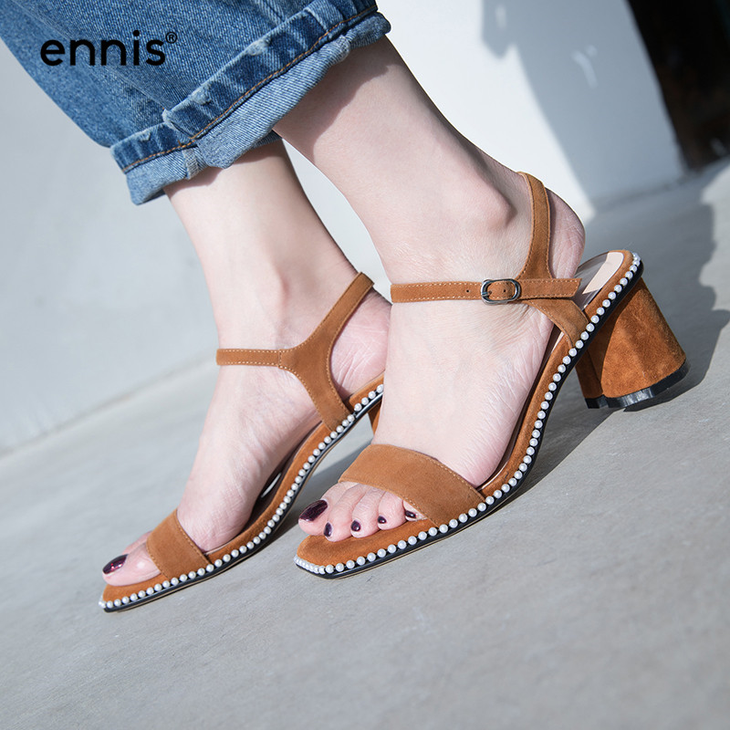 f8a91b3cb34f Leather Suede M8107 Summer Women New Sandals ENNIS Gladiator Quality High  High Studded 2018 Heels Chunky ...