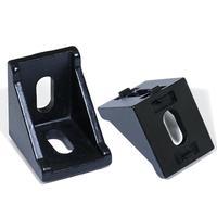 10 20 peças 2028 3030 entalhe preto 6/8mm ângulo de canto l suportes conector fixar acessórios de perfil alumínio conector