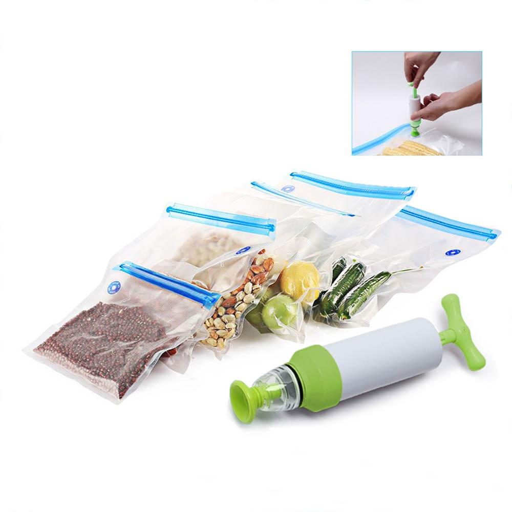 5 pièces poignée Sous Vide scellant Vacuumzak Handpomp poche Verpakkings Machine Voedsel Sous Vide Met Sous Vide Ziplock Tassen sacs 1