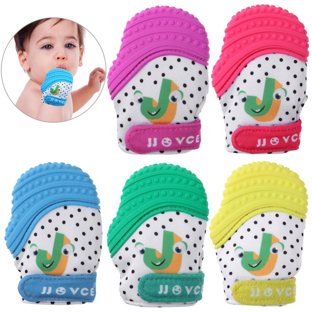 Cute Silicone Baby Teether Natural Thumb Sound Teething Chewable Pacifier Glove