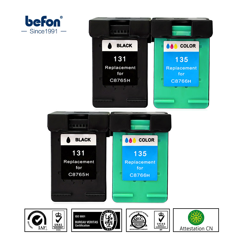 befon X4 Refilled <font><b>Ink</b></font> Cartridge Replacement for <font><b>hp</b></font> 131 135 HP131 HP135 Photosmart <font><b>C3100</b></font> C3183 C3150 C3180 PSC1500 1510 1513 1600 image