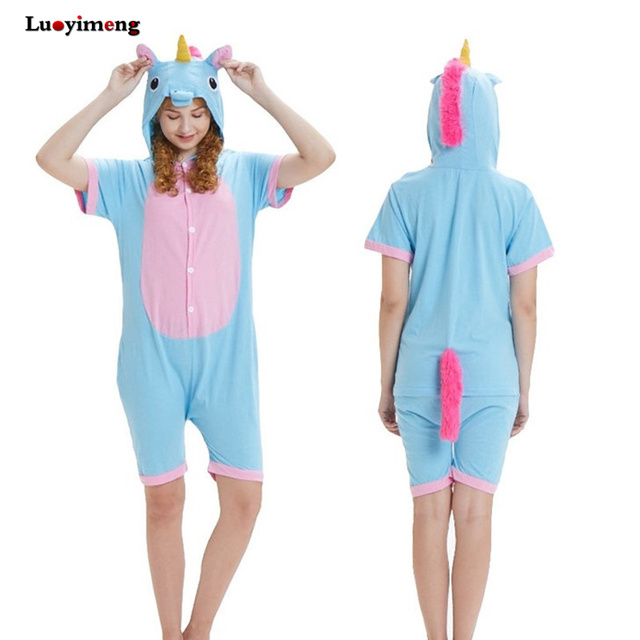 466d05de86 Summer Adult Onesie Hoodie Pajamas Cotton Anime Unicorn Stitch Pikachu Cow  Sleepwear Home Cloth Kawaii Unisex Pyjamas Nightdress