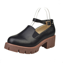 Good Quality New Shoes Woman Solid Color Brown Round Toe Low Square Heels Buckle Strap Oxfords Comfortable Leisure Autumn Shoe