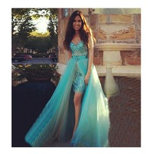 Glamorous A-linie Grün prom Kleid Mit Luxus Perlen Hinzufügen Crysal Abendgesellschaft Kleid Mit Abnehmbarem Rock vestido de festa