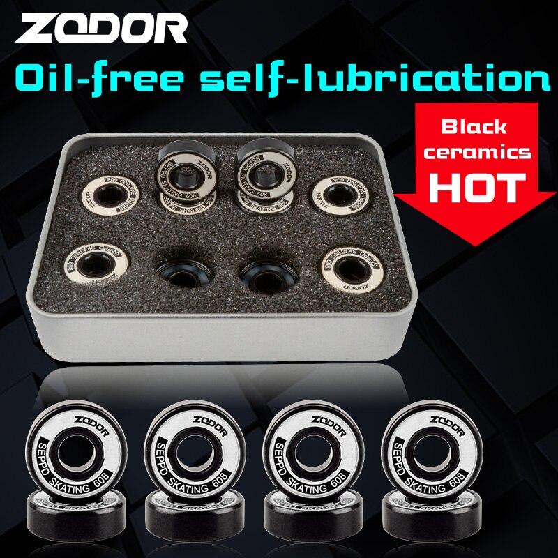 Céramique noire 7 perles haute vitesse roulement de patinage ZODOR sans huile auto-lubrification 608 ABEC-11 ILQ11 compétition PRO niveau de course