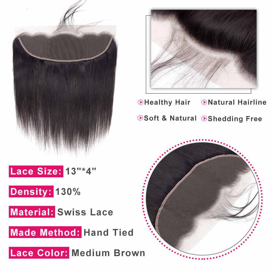 Pelo brillante peruano pelo humano recto encaje cierre Frontal 13x4 medio/libre/tres Partes encaje suizo 100% Remy cabello Natural