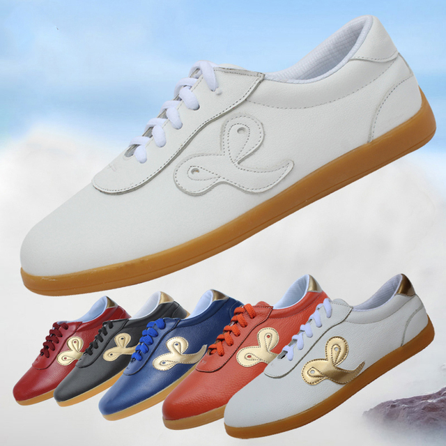 Cowhide Leather  Tai Chi Shoes Multicolor Martial Art Shoes Taiji Boxing Practice Shoes Free Flexible 6 Colors
