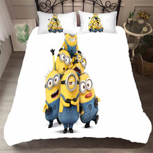 HELENGILI 3D Bedding Set Little Yellow Man Print Duvet Cover Bedcloth with Pillowcase Bed Home Textiles #FILM-03