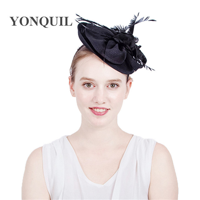 0ccd235949b black imitation Sinamay Fascinators Elegant Ladies feather Floral Hat  headbands Wedding Party Derby Hair Accessories New Arrival