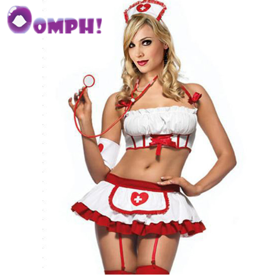 Oomph! Women's sexy Nurse suit Charm costumes erotic sexy lingerie Halter neck uniform G-string skirt Corset garter Sex toys