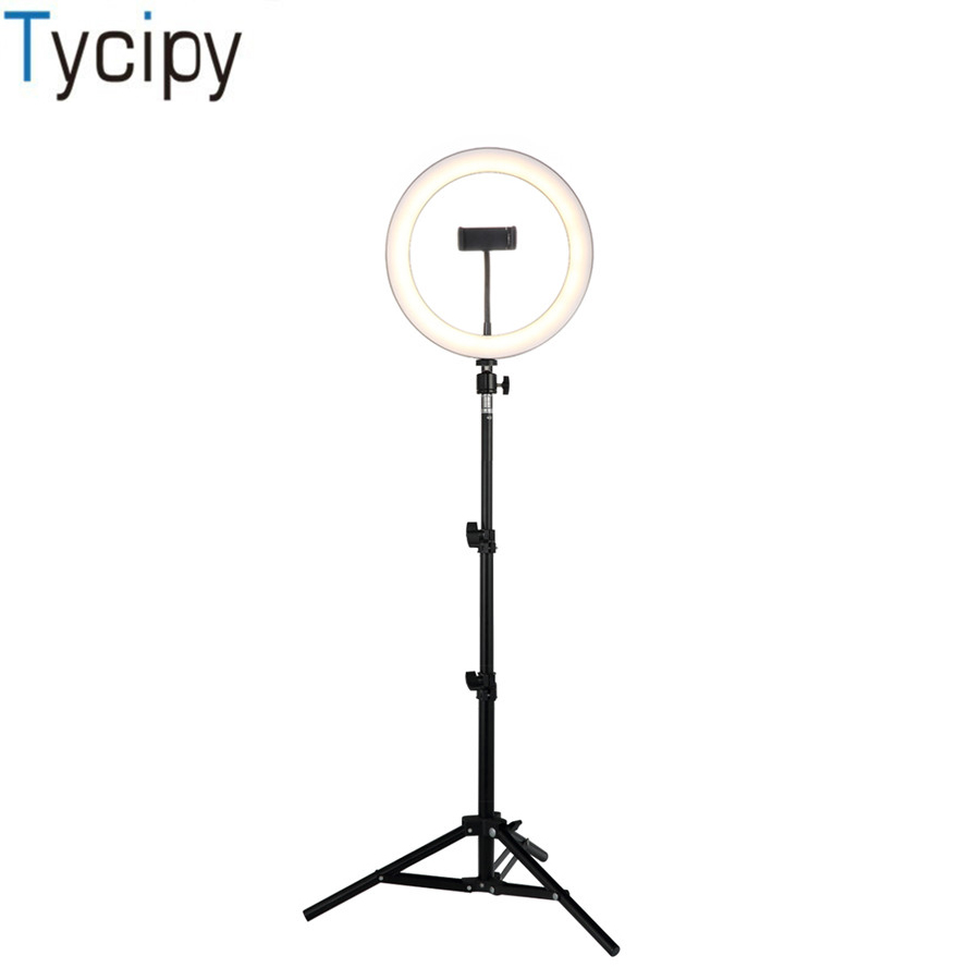 Tycipy Phone Selfie Ring Light 26CM 24W Dimmable LED Photography Lighting With 1.1M Tripod Stand & Phone Holder For Video Makeup