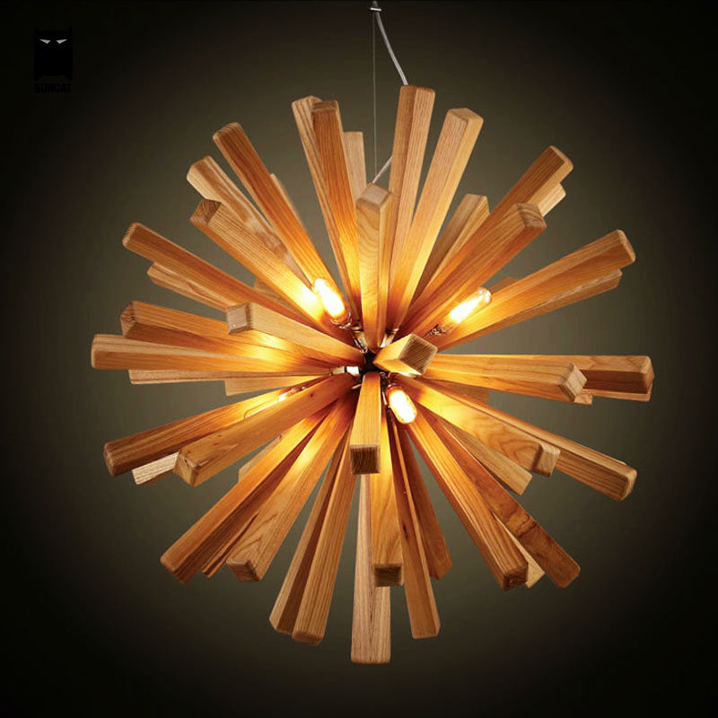 Wooden Ball Pendant Light Fixture Contemporary Cottage LED Lamp Suspended Luminaire Luminaria Lustre Living Dining Study Room