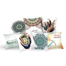 Elife Artifical Elephant cushion cover Bohemian Feather throw Geometric mandala pillow case sofa car Bed Home Decor 45*45CM