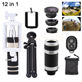 12in1 Lens 8X Zoom Telephoto Lens Microscope Macro Wide Angle Fish eye Lentes Telescope +Selfie Stick+Tripod For iPhone 7 6 5 4s