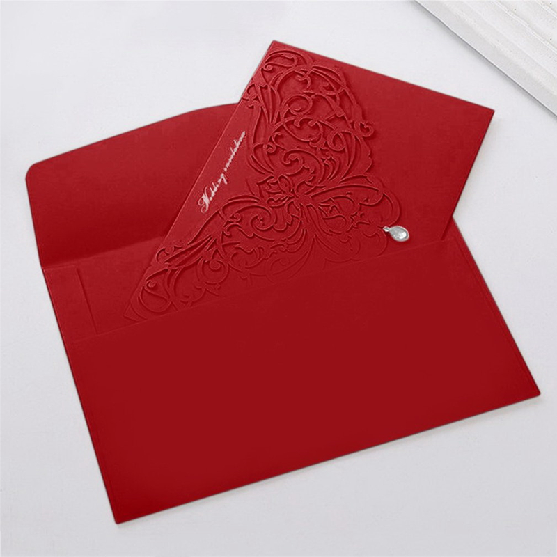 10PCS/SET Embossment Wedding Party Invitation Card Red / White With Envelopes Luxurious Hollow Out Wedding Supplies 18*13cm 1 design laser cut white elegant pattern west cowboy style vintage wedding invitations card kit blank paper printing invitation