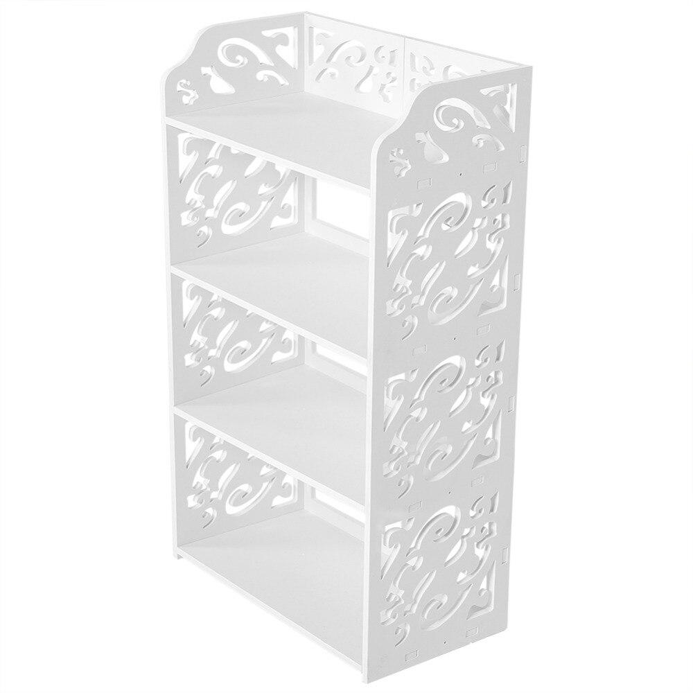 WPC 4 Tiers Scava Fuori Scarpa Cremagliera Del Basamento Mensola di Immagazzinaggio Organizzatore-Bianco