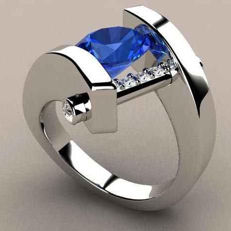 Cristal Azul Anel de Pedra Vermelha do vintage Feminino e Masculino de Luxo Ouro Prata Anel de Promessa de Casamento Anéis de Noivado Para Homens E Mulheres