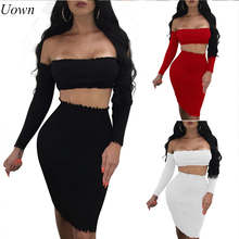 Uown Women Long Sleeve 2 Pieces Sets Off Shoulder Slash Neck Backless Top Bodycon Midi Skirt and Crop Top Set Sexy Evening Suits