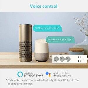 Image 4 - Wifi Smart multiprise 3 prises ue prise 4 Port de charge USB synchronisation App commande vocale travail avec Alexa,Google Home Assistant