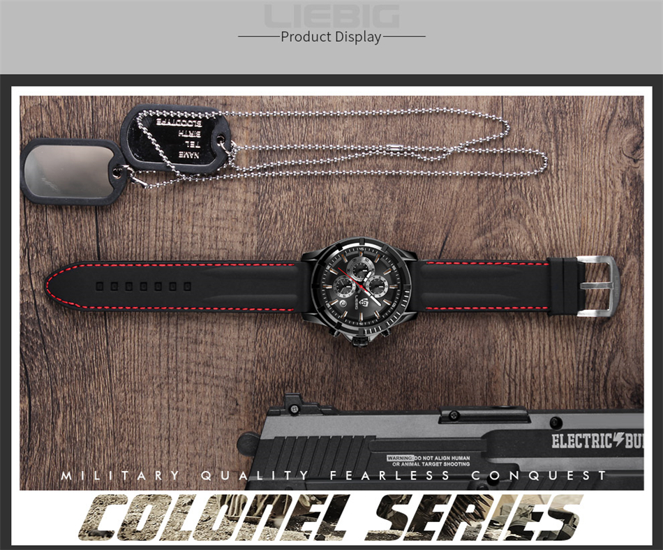 Genuine LIEBIG Fashion Quartz Male Watches Genuine Leather Watches Racing Men Students Game Run Chronograph Watch Male Glow Hand