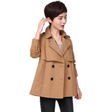 2018 spring trench coat for women 100% cotton Turn-down Collar Double Breasted short windbreaker with Epaulet outerwear double breasted belt epaulet design turndown collar wool coat