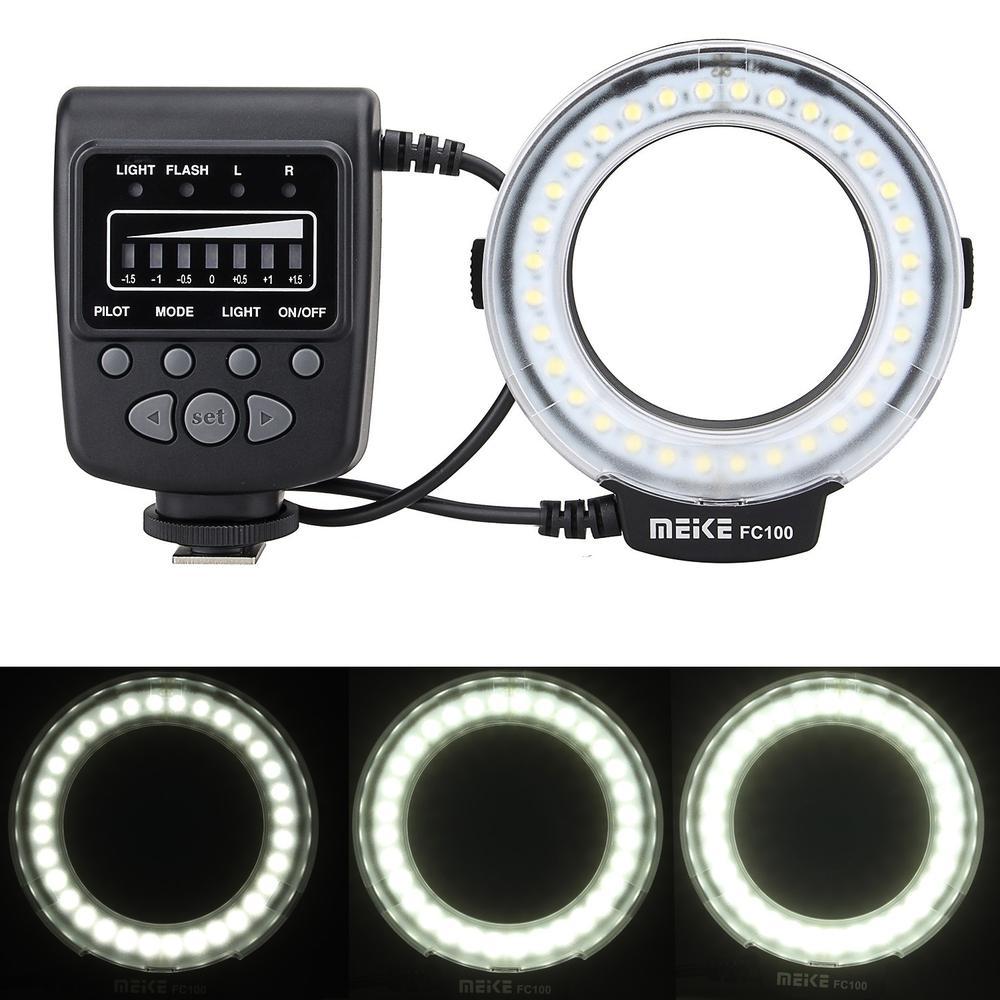 Meike FC100 LED Macro anillo Flash Speedlite luz para Canon 5d mark II Nikon d5200 Sony RX1R A6000 A7 A7S a3000 Dslr Cámara