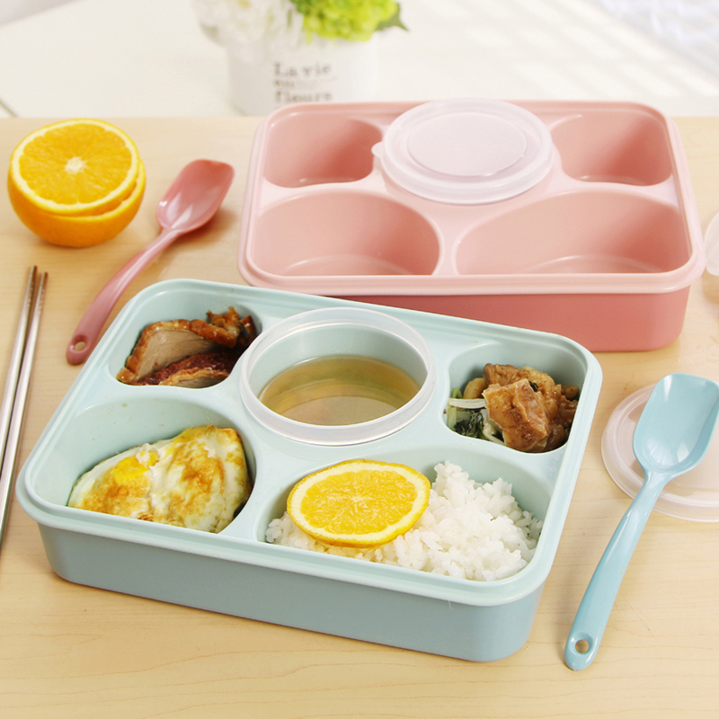 5 Cells Healthy Plastic Food Container 1000ml Multifunction Sealed Microwaveable Lunch Bento Box Adult Kids Bento with Soup Bowl