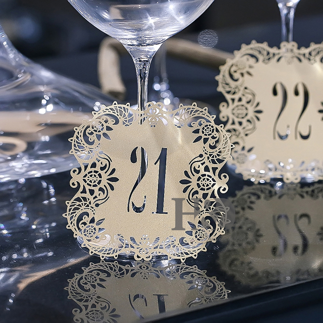 Rustic Wedding Centerpieces.Us 4 44 11 Off Number 1 30 10pcs Set Beige Gold Hollow Lace Table Number Table Cards Rustic Wedding Centerpieces Decor Vintage Wedding Decor In