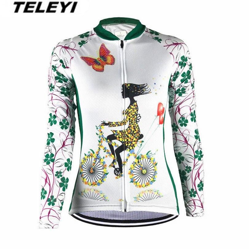 2017 TELEYI Green Bike Long jersey Women Cycling clothing Female MTB Ropa Ciclismo Maillot Riding Long Sleeve Shirts Quick Dry