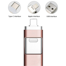 Buy USB Flash Drive 128GB [3-in-1], USB 3.0 Adapter External Storage Memory Stick Adapter Expansion for iPhone/Type-C/PC - Rose gold directly from merchant!