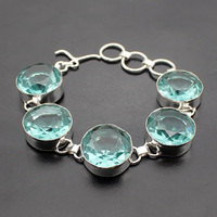 Hermosa Jewelry Charming Fashion Round Lake Blue Topaz 925 Sterling Silver Bracelets 8 Inches 20CM Adjustable