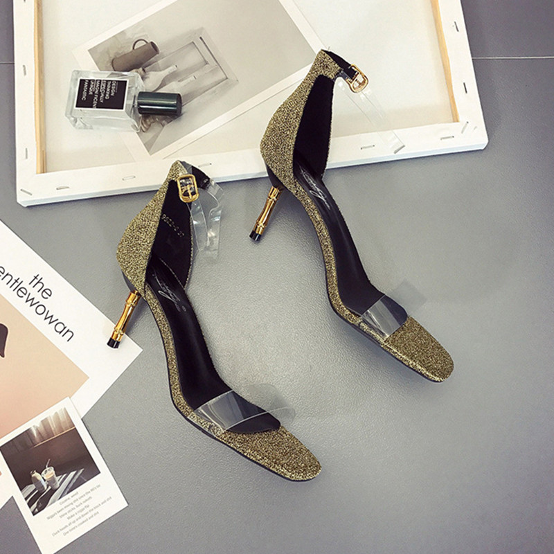 2018 Summer New PVC Design High Heel Women Sandals Breathable Peep Toe Shiny Sequined Party Ladies Sandals All-match Casual Shoe 2018 summer new arrived strap design wedges women sandals peep toe comfort mid heel sexy lady sandal fashion student casual shoe