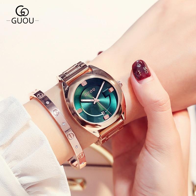 GUOU reloj mujeres Top lujo acero Auto fecha relojes mujer moda exquisita señoras relogio femenino reloj mujer