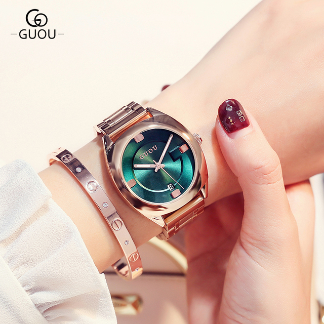 GUOU Watch Women Top Luxury Steel Bracelet Auto Date Women Watches Fashion Exqui
